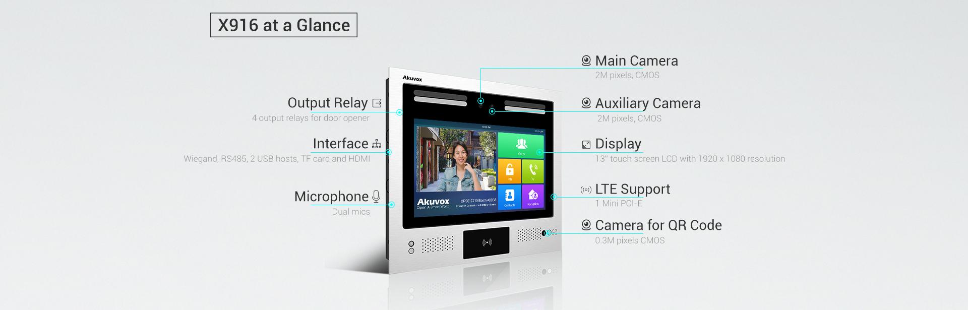 Akuvox X916 Kart okuyuculu 4G LTE Görüntülü interkom, Yüz Tanıma