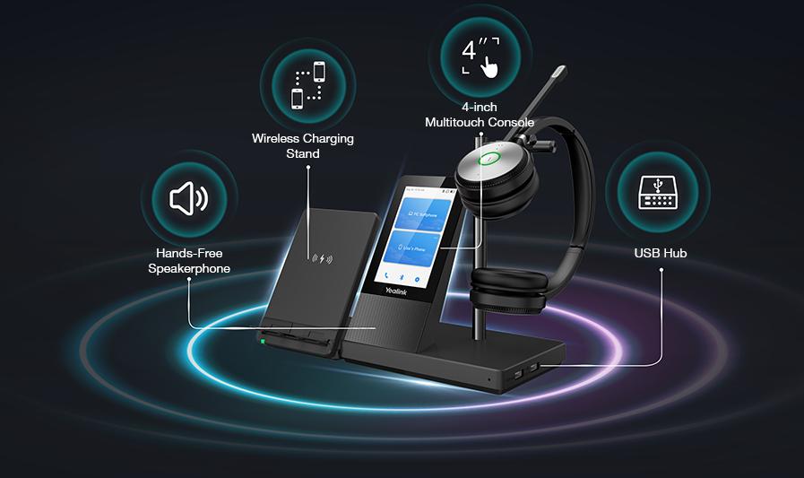Yealink WH66 Çift-Mono UC İş İstasyonu DECT Kablosuz Kulaklık